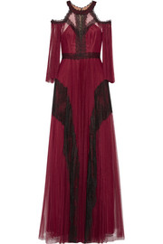 Marchesa Notte Cold-shoulder lace-paneled pleated tulle gown