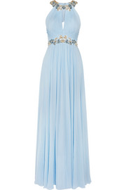 Marchesa Notte Embellished silk-chiffon gown