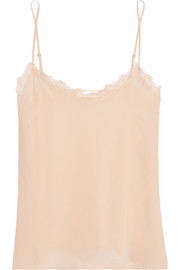 Lace-trimmed washed-silk camisole