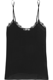 Anine Bing Lace-trimmed washed-silk camisole