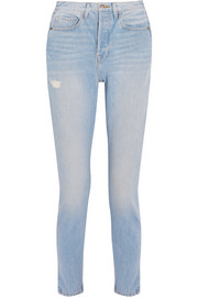 FRAME Le Original Skinny distressed high-rise straight-leg jeans