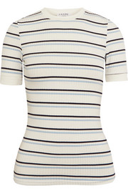 FRAME Striped ribbed stretch-jersey T-shirt