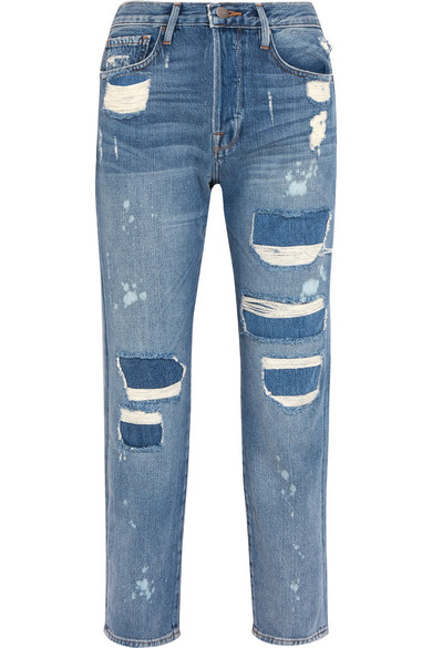 LE ORIGINAL DISTRESSED HIGH-RISE STRAIGHT-LEG JEANS