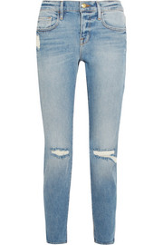 Le Boy cropped distressed mid-rise slim-leg jeans