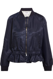 Ruffled shell bomber jacket