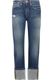 FRAME Le Oversized Cuff high-rise straight-leg jeans