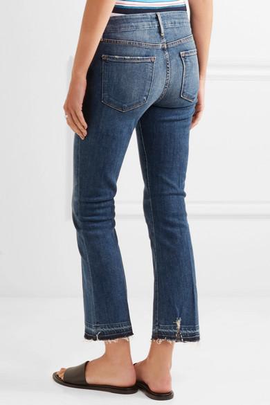 Le Crop Mini Boot Distressed High-rise Jeans - Mid denim Frame Denim rnP2A3ySA