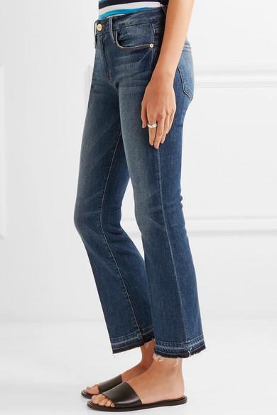 Le Crop Mini Boot Distressed Mid-rise Flared Jeans - Blue Frame Denim Inexpensive Cheap Nicekicks 2tu8XMAUK