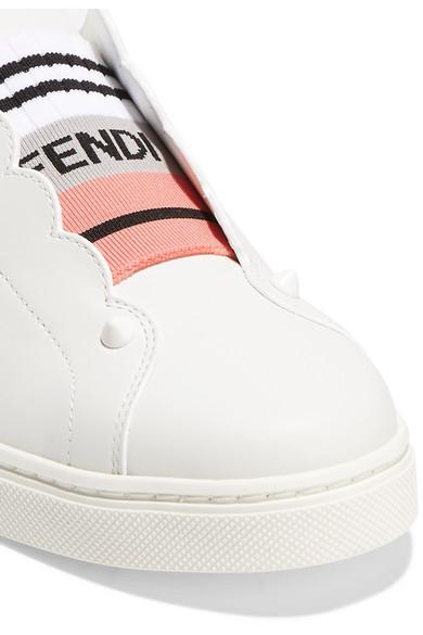 FENDI Fendi Baskets sans lacets en cuir blanc