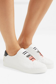 Fendi Scalloped leather slip-on sneakers