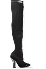 Fendi Striped crochet-knit over-the-knee boots