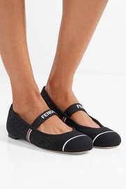 Fendi Striped mesh ballet flats