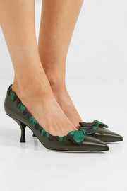 Fendi Satin-trimmed leather pumps