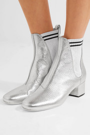 Fendi Metallic textured-leather ankle boots