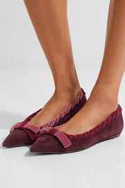 Fendi Velvet-trimmed suede point-toe flats