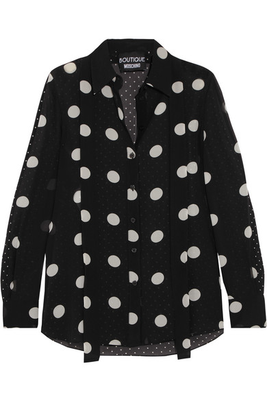 Polka-dot Silk-chiffon Shirt - Black Moschino Cheap With Mastercard Cheap Sale Great Deals Fashion Style Cheap Sale Prices Nicekicks Sale Online HzLXyGOgH