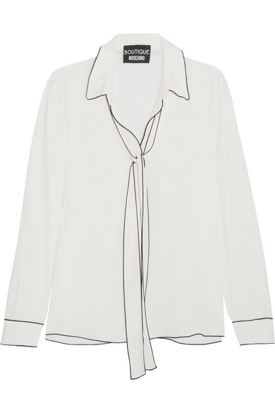 Boutique Moschino - Pussy-bow Crepe De Chine Blouse - White