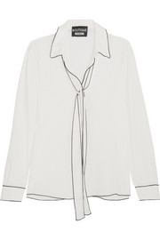 Boutique Moschino Pussy-bow crepe de chine blouse