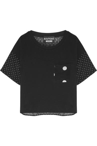 Polka-dot Silk-chiffon Shirt - Black Moschino Sale Affordable RP9Pyq