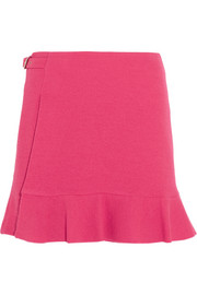 Buckled crepe mini skirt