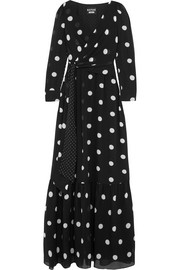Polka-dot silk-chiffon maxi dress