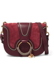 Hana small suede and leather shoulder bag