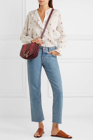 61e6d0487d Hana small suede and leather shoulder bag