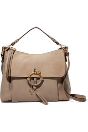 Joan medium suede-paneled leather shoulder bag