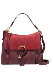 See by Chloé Joan medium suede-paneled leather shoulder bag