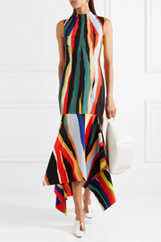 Klara asymmetric striped crepe maxi dress