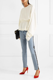 Printed grosgrain-trimmed high-rise straight-leg jeans