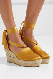 Tory Burch Elisa satin espadrille wedge sandals