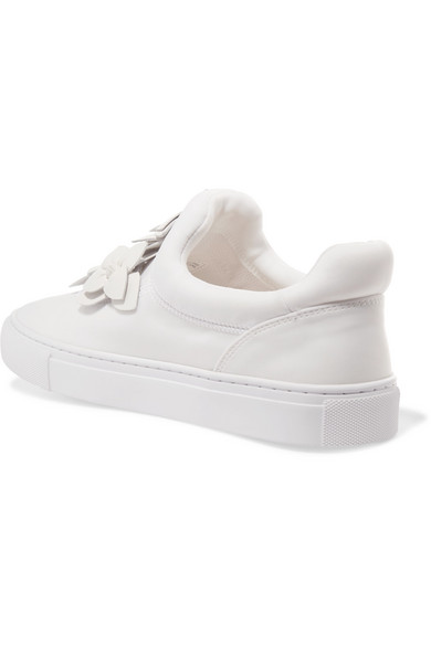 b1447faf26cc Tory Burch. Blossom floral-appliquéd leather slip-on sneakers. £89.58. Zoom  In