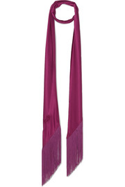 Fringed silk-satin scarf