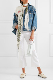 Fringed printed silk crepe de chine scarf
