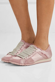 Pedro Garcia Cristina frayed suede-trimmed satin sneakers