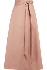 Tibi Cotton-poplin wrap skirt
