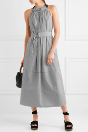 Tibi Striped cotton-poplin midi dress