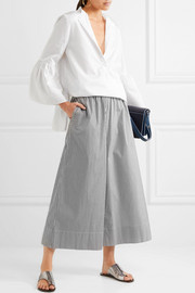 Tibi Cropped striped cotton-poplin wide-leg pants