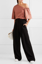 Tibi One-shoulder cotton-poplin top