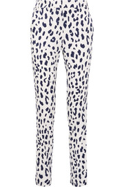 Leopard-print silk straight-leg pants