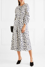 Ruched leopard-print silk-satin midi dress
