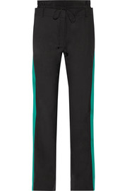 Dempsey striped silk-trimmed crepe straight-leg pants