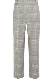Tibi Jasper cropped checked woven straight-leg pants