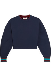 Cropped stretch-jersey sweatshirt