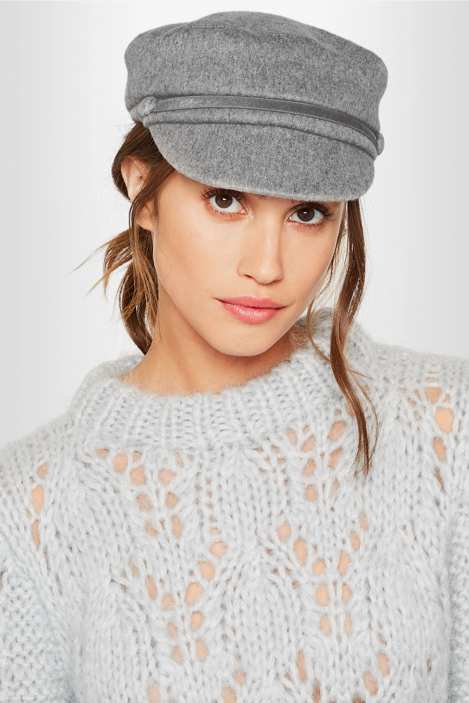Eugenia Kim Elyse calf hair-trimmed cashmere-felt cap