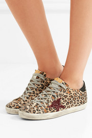 Super Star patent, glittered and leopard-print leather sneakers