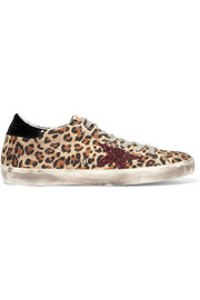 Golden Goose Deluxe Brand Super Star patent, glittered and leopard-print leather sneakers