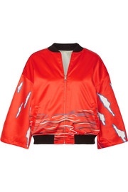 Reversible printed silk-satin bomber jacket