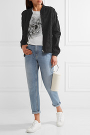 Broderie anglaise cotton bomber jacket